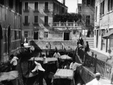 Group of Gondolas in Canal Traffic Jam  Venice