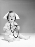 Baby Wearing Nurse's Hat and Stethoscope