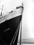 Prow of the Queen Mary  Showing the Mooring Ropes in the Foreground