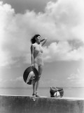 Woman Wearing Knit Bathing Suit