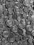 Pile of Various Old Silver Coins  Close-Up