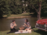 Young Couple Enjoying Picnic Near Lake in Spring or Summer