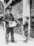 Newspaper Boy Selling Paper To Businessman  Philadelphia