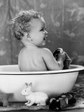 Baby With Wet Hair Sitting in Wash Basin  Smiling  Taking a Bath