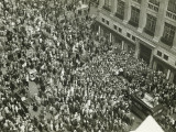 Crowd of People on Street  News Media Broadcasting  (Aerial View)