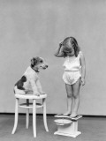 Girl Standing on Scales  Reading Weight  Terrier Dog Sitting on Stool