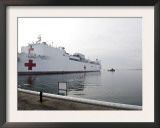 The Military Sealift Command Hospital Ship Usns Comfort Pulls Away from Canton Pier