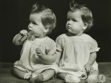 Twin Sisters (9-12 Months)Sitting on Blanket  Portrait