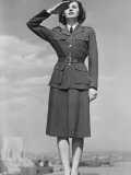 Woman in Military Uniform Saluting Outdoors