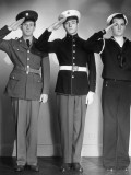 Army  Marine and Navy Men in Uniform Saluting