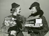 Women Shopping With Christmas Packages