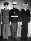 World War Ii Army  Marine and Navy Men in Uniform