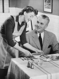 Woman Serving Soup To Husband