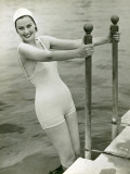 Woman in Bathing Suit and Swimming Cap