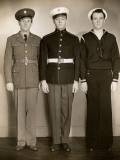 Ww Ii Us Army  Marine and Navy Men in Uniform