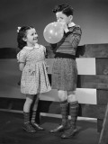Boy  Blowing Balloon  and Girl