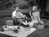 Couple Outdoors Having a Picnic
