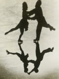 Silhouette of Couple Ice Skating