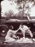 Couple Picnicking  Man Sitting on Car Runningboard