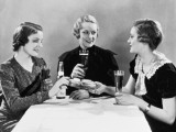 Three Women Having Beer and Sandwiches (B&W)