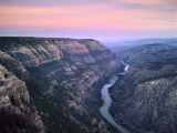 The Green River & Cliffs of Whirlpool Canyon at Dusk  Dinosaur National Monument  Utah  USA
