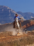 Cowgirl Riding a Trail in the Big Horn Mountains  Shell  Wyoming  USA