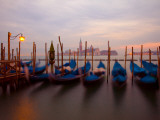 Anchored Gondolas at Twilight  Venice  Italy