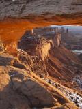 Landscape Through Mesa Arch at Sunrise  Canyonlands National Park  Moab  Utah  USA