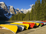Moraine Lake and Rental Canoes Stacked  Banff National Park  Alberta  Canada