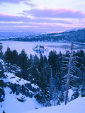 Emerald Bay State Park in Winter at Dusk  Lake Tahoe  California  USA
