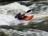 Kayaker Plays in a Hole in Tariffville Gorge  Farmington River in Tariffville  Connecticut  USA