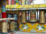 Tibetan Buddhist Prayer Wheels at Shuzheng Village  Sichuan Province  China