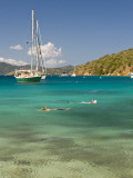 Snorkelers in Idyllic Cove  Norman Island  Bvi