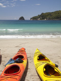 Kayaks on Beach  Hahei  Coromandel Peninsula  North Island  New Zealand