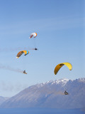 Paragliders Over Mountains  Queenstown  South Island  New Zealand