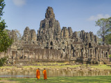 Monks Looking at Bayon Temple  Angkor  Siem Reap  Cambodia