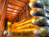 Giant Reclining Buddha Inside Temple  Wat Pho  Bangkok  Thailand