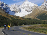 Road Bicycling on the Icefields Parkway  Banff National Park  Alberta  Canada
