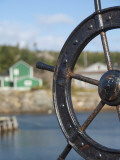 Fisherman&#39;s Point  Boat Wheel in Front of Harbor  Twillingate  Newfoundland and Labrador  Canada