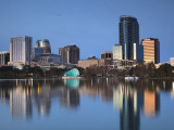 Orlando Skyline Across Lake Eola  Florida  USA