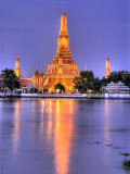 Wat Arun  Buddhist Temple Reflects in River at Dusk  Bangkok  Thailand