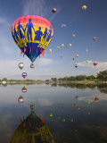 Hot Air Balloons Reflected in Prospect Lake  Colorado Springs  Colorado  USA