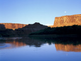 Moon & Cliffs at Sunrise Above Green River  Mineral Bottom  Colorado Plateau  Utah  USA