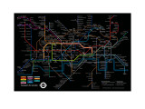 Black London Underground Map