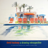Eight Sunchairs by a Pool affiche par David Hockney
