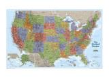Carte des Etats-Unis Reproduction d'art