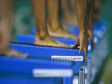 Detail of Female Swimmers at the Start of a Race