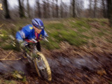 Young Male Recreational Mountain Biker Riding in the Forest
