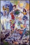 Sur les toits de Paris Reproduction montée par Marc Chagall