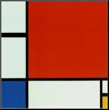 Composition avec du rouge, du jaune et du bleu Reproduction montée par Piet Mondrian